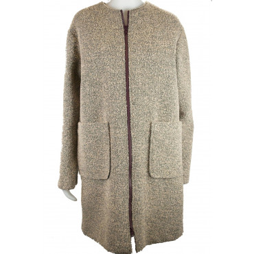 Woman Coat 42 S Boucle Woolen Cloth Beige - Montereggi