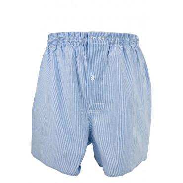 Boxer Uomo Pantaloncini Corti Homewear a Righe Rosso Blu Celeste - Popeline Puro Cotone