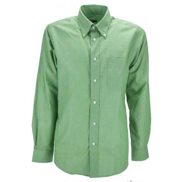 Camicia Uomo Verde Riga Bianca ButtonDown  - M 40-41 - vestibilità classica