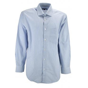 Camicia Uomo Collo Francese Bianco Righe Azzurro Popeline - S M