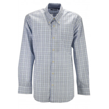 Man shirt ButtonDown Blue plaid Blue White background - M-L-XL-XXL