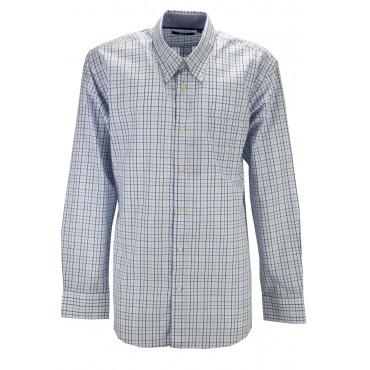 Camicia Uomo ButtonDown Quadri Blu Azzurro sfondo Bianco - M L XL XXL