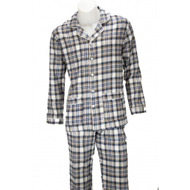 Pajamas Classic Man Open Front Fabric Cotton and Flannel - Grino