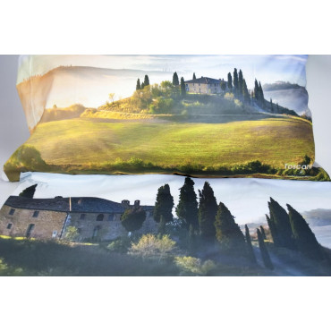 Duvet cover Double Landscape Tuscany Farmhouse in Val d'orcia 250x200 +2 Pillow cases + Below Corners