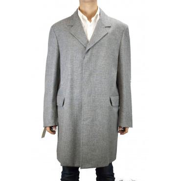 Coat Short Man 3/4 52 XL loro Piana Gray Squares Cashmere Wool blend