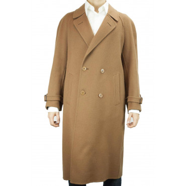 Double-Breasted Coat 3/4 Man 48 M Pure Cashmere Brown Camel