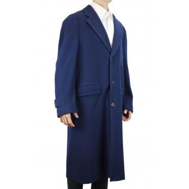 Cappotto Lungo Uomo 48 M Blu Navy Panno Lana 3Bottoni - Fendi