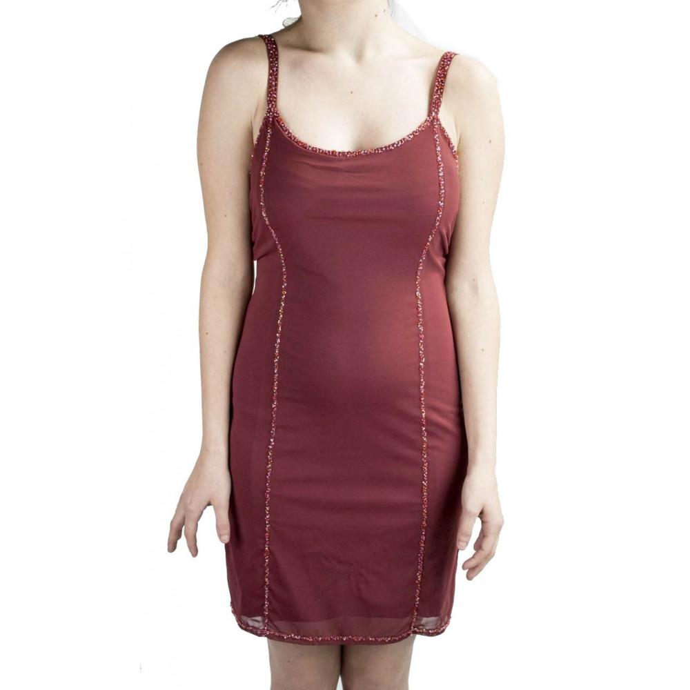 Abito Donna Mini Tubino Elegante M Rosso - Righe di Perline Rosse