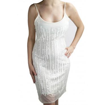 Robe Femmes Mini Robe Élégante M - Blanc Rangées de Perles et de Paillettes