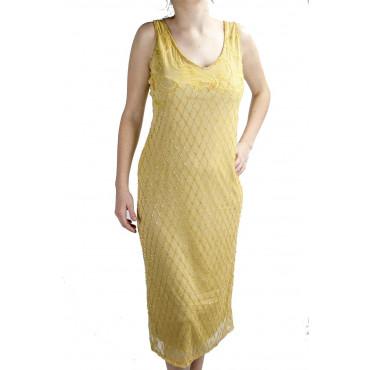 Abito Donna Tubino Elegante XL Giallo Oro - Perline Rombi e Ricamo