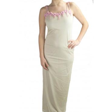 Abito Donna Tubino Elegante M Beige - Fiori Perline Rosa