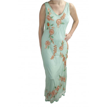 Damen kleid Etuikleid Elegante Aquamarin XXL - Pailletten in Orange und Blumen Stickerei