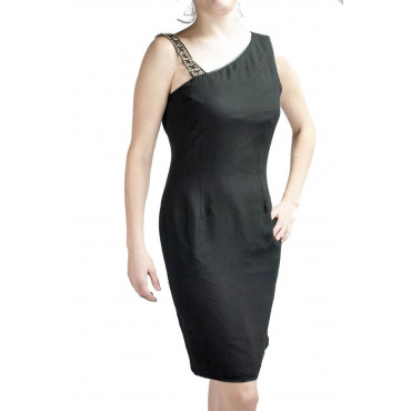 Gown Women's Elegant sheath Dress M Black - Asymmetrical Rhinestone detailing