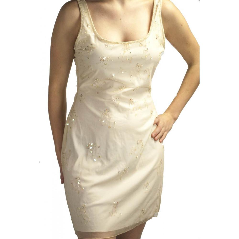 Abito Donna Mini Tubino Elegante M Avorio - Fiorellini Paillettes e Perline