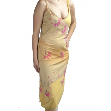 Gown Women's Elegant Sheath Dress L Yellow Shaded - Pink Flowers Beads