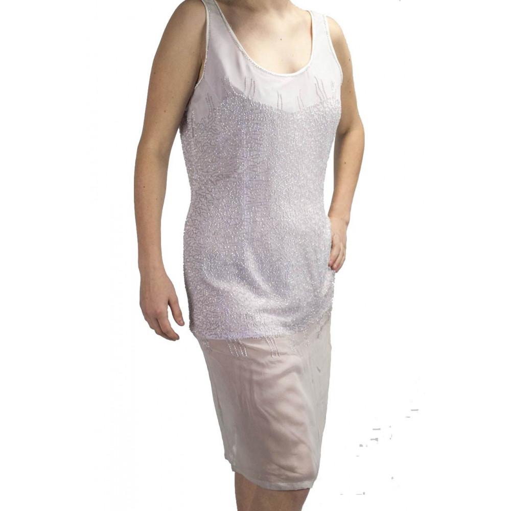 Abito Donna Tubino Elegante M Lillà - tempestato di Perline semi trasparente
