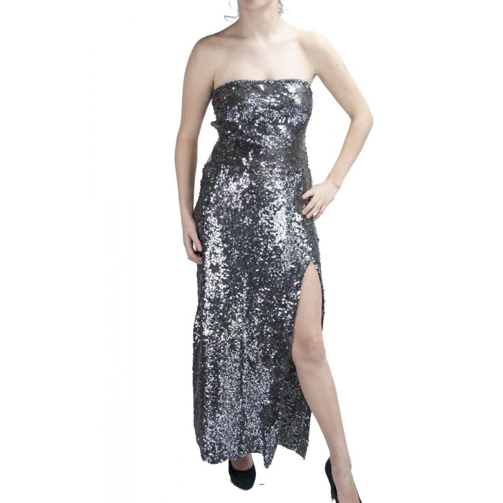 Abito Sirena Tubino Donna Lungo ai piedi Elegante M  Grigio Acciaio - schiena nuda