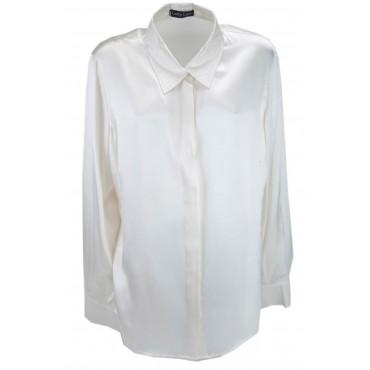 Camicia Donna Colletto Avorio 100% Pura Seta Raso - Impunturata a mano -Grandi Taglie