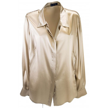 Women's shirt Collar Beige 100% Pure Silk Satin 56 58 - hand-Stitched -Large Sizes