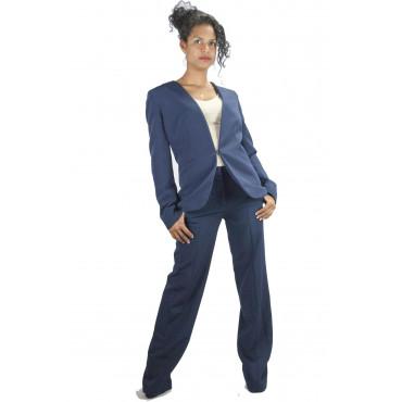 Pierre Cardin Tailleur Donna 50 XL Blu Completo Giacca con Pantaloni Palazzo