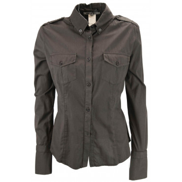 LES COPAINS Jacket Screwed Woman jacket Pockets 40 XS - Brown Dresses, Shirts, t-shirts