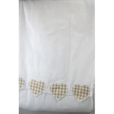 Coppia Tende Porta Finestra 60x240 Bianco Cuori Ecrù a Quadretti