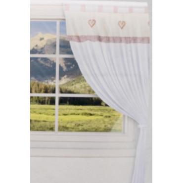 Coppia Tende Porta Finestra 60x150 Bianco Cuoricini Ecrù e Rosso Misto Lino