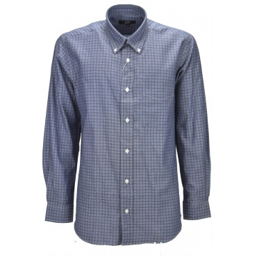 Camicia Classica Uomo Celeste Scuro Piccoli Quadri Armaturato - Button Down