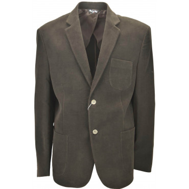 Men's Jacket 58 Dark Brown Moleskin Cotton 2 Button Placket - Classic Fit