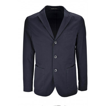 Casual Jacket Slimfitt Man Dark Blue Cotton
