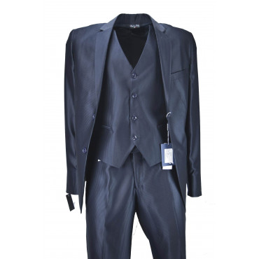 Abito con Gilet Uomo Elegante Cerimonia Blu Notte Righe Lucido Opaco - Lancer