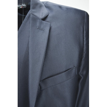 Abito con Gilet Uomo Elegante Cerimonia Blu Notte Righe Lucido Opaco Lancer 48