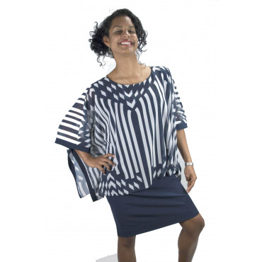 Pierre Cardin Dress Woman L 46 Dress Large White Stripes And Blue Sleeves Kimono