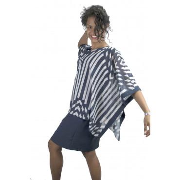 Pierre Cardin Abito Donna L 46 Tubino Ampio Righe Bianco Blu - Maniche Kimono