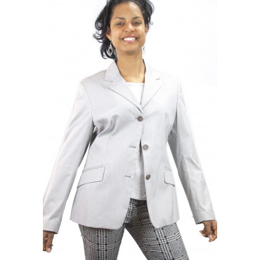 Giacca Donna Blazer taglia 42 S - Righe bianco e nero - Cotone