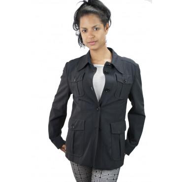 Giacca Sahariana Donna Tasche a Toppa taglia 42 - Blu  Frescolana - No Brand Sample