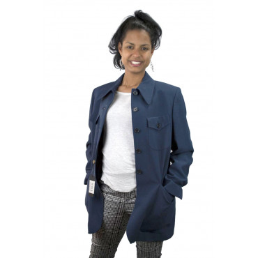 Giacca Blazer Donna Tasche a Toppa taglia 42 - Blu Chiaro Frescolana - No Brand Sample