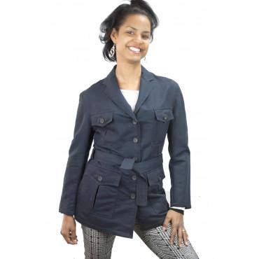 Giacca Sahariana Donna Tasche a Toppa taglia 42 - Blu Chiaro Lino - No Brand Sample