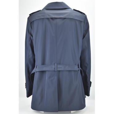 Impermeabile Uomo Doppiopetto Blu 52 XL Slim Cappotto Imbottito Trapuntato
