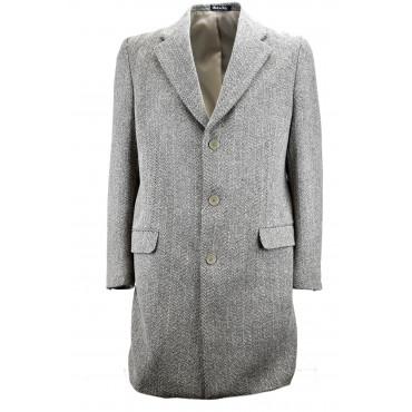 Cappotto 3/4 Uomo 48 M Panno Lana Beige Spina Marrone 3 Bottoni - Vestibilità Classica