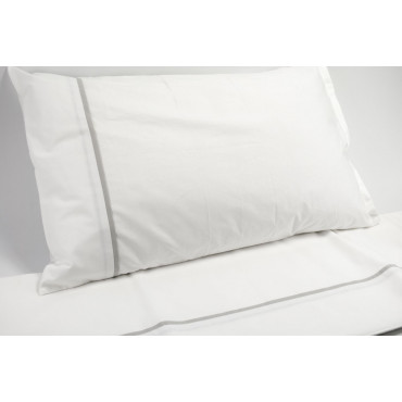 Lenzuola Bianco Ajour Grigio Matrimoniale 250x290 con Angoli 170x200