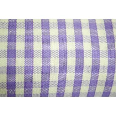 Tessuto a Metraggio Quadrettini Country Giallo Viola Blu Ecrù - H180 Puro Cotone