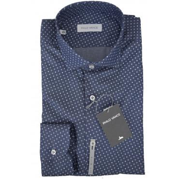 Camicia Uomo SlimFit Blu Chiaro Piccola Fantasia collo Francese piccolo - Philo Vance - Gange Slim