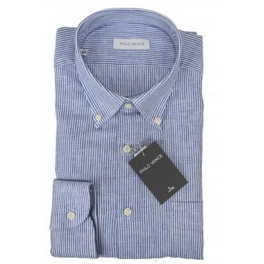 Camicia Uomo Misto Lino Bianco Righe Blu Button Down - Philo Vance - Digione