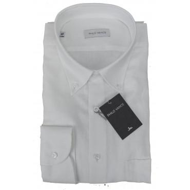 Camicia Uomo Misto Lino Bianco Button Down - Philo Vance - Cuba