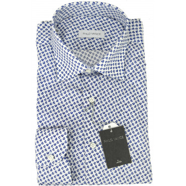 Man shirt Elasticated Clover Blue-on-White spread collar - Philo Vance - Astrid