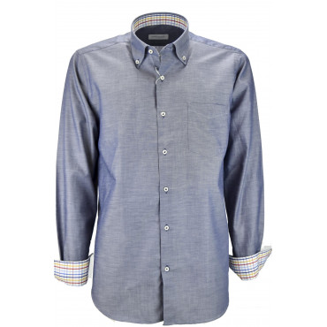 Camicia Uomo Blu Oxford Fiammato Button Down  - Philo Vance - Lavagna