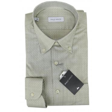 Camicia Uomo Beige Fiammato Pois Button Down  - Philo Vance - Limone