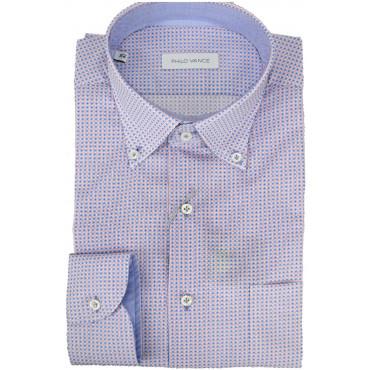 Camicia Uomo Piccola Fantasia Rosso Blu Button Down  - Philo Vance - Garda