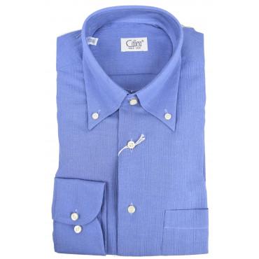 Camicia Uomo Azzurro Goffrato ButtonDown - Cassera